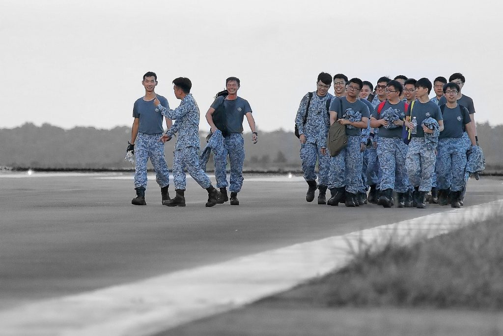 NDP 2017 State Flag deployment by 127 Squadron
